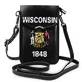 IUBBKI Wisconsin État drapeau Logo en cuir téléphone sac à main mode téléphone portable pochette portefeuille bandoulière sac à main porte-clés
