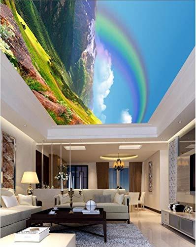 Techo personalizable pintura techo mural salón dormitorio techo decoración mural tela no tejida-Paisaje natural fresco, hermoso arco iris 140 cm (W) x 70.5 cm (H) (4'2