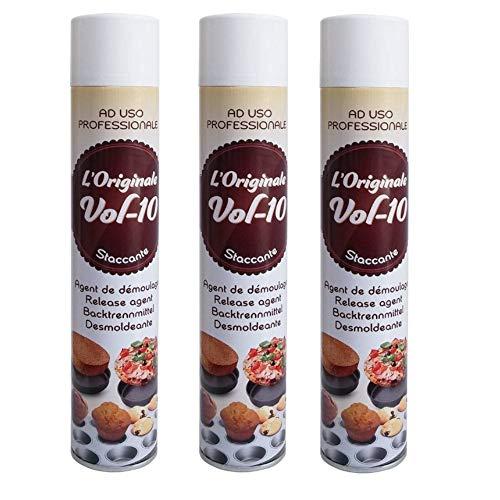 3 pezzi - STACCANTE spray ALIMENTARE per teglie 500ml - Burro spray antiaderente ideale per torte, dolci e salati - per oliare stampi, padelle ecc - VOL 10 ad uso professionale