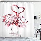 ABAKUHAUS Duschvorhang, Romantischer Augenblick Zwischen Zwei Flamingos die Einen Herzens Motiv Erzeugen Rosa Rot Druck, Wasser & Blickdicht aus Stoff mit 12 Ringen Bakterie Resistent, 175 X 200 cm