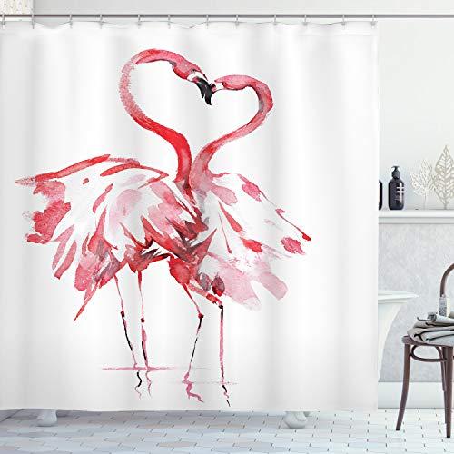 ABAKUHAUS Flamenco Cortina de Baño, Amantes Que se besan, Material Resistente al Agua Durable Estampa Digital, 175 x 200 cm, Oscuro Coral Blanco