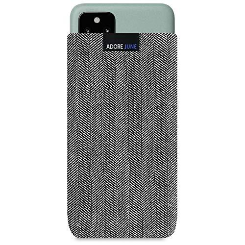 Adore June Business Tasche kompatibel mit Google Pixel 5 Handytasche aus charakteristischem Fischgrat Stoff - Grau/Schwarz, Schutztasche Zubehör mit Bildschirm Reinigungs-Effekt