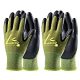 COOLJOB Bamboo Work Gloves Men and Women, Breathable Nitrile Rubber Coated Gardening Gloves, Safety Working Gloves Touchscreen for Fishing Gardening Industrial Repair, Green Medium Size (2 pairs M)