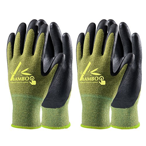 COOLJOB Bamboo Work Gloves Men and Women, Breathable Nitrile Rubber Coated Gardening Gloves, Safety...