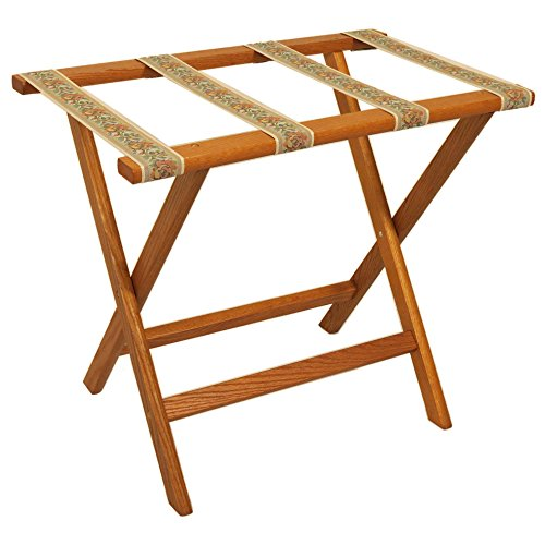 Save %22 Now! Wooden Mallet Deluxe Straight Leg Luggage Rack,Tapestry Straps, Medium Oak