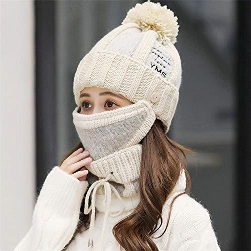 KLU Damen-Wintermütze, gestrickt, mit Lätzchen, Maske, Ohrenschutz, warm, Samt, dick, Wolle, Beige, 3 Stück