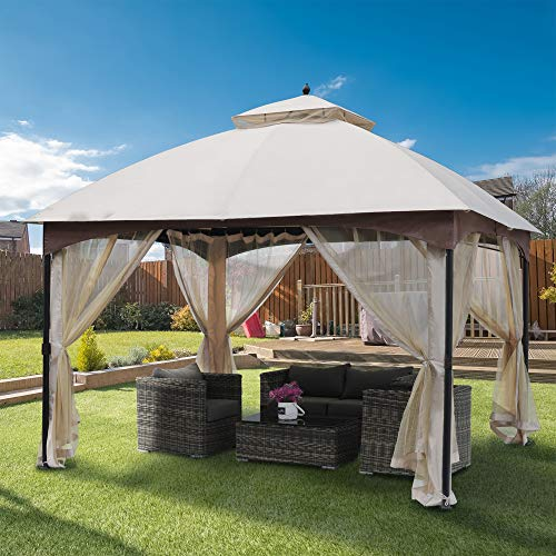 Sunjoy Corso 11 X 13 Ft Gazebo With Led Lighting And Bluetooth Sound Tan And Brown Garden Outdoor