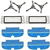 Zealing Kit confezione di ricambio con 2 filtri + 4 spazzole laterali + 4 mop per la pulizia del robot aspirapolvere Proscenic D550 / 880T