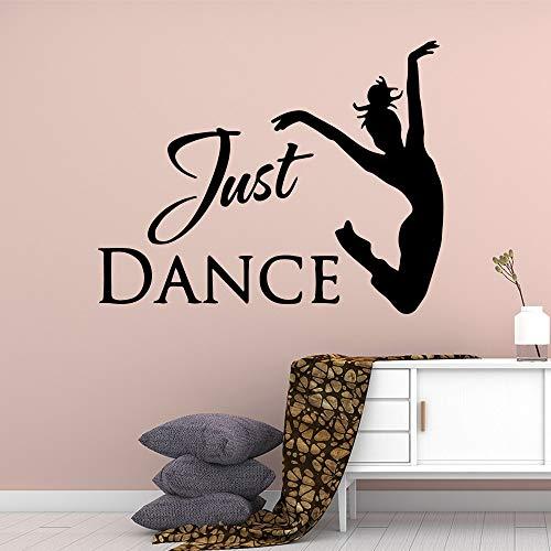 Divertido solo baile chica texto vinilo pegatinas de pared para habitación de niña vinilo calcomanías Mural bailarina pared pegatina de pared A5 28x35cm