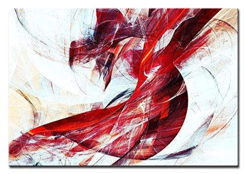 Berger Designs - Bild auf Leinwand als Kunstdruck in verschiedenen Größen. Abstrakt in Rot und Weiss. Beste Qualität aus Deutschland (120 x 80 cm (BxH))