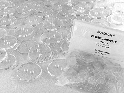HotDrops Wäscheknöpfe - wählbar in 7 Größen - 10-23 mm - koch- u. mangelfest - klar/transparent - (Ø 20 mm / 25 Stück)
