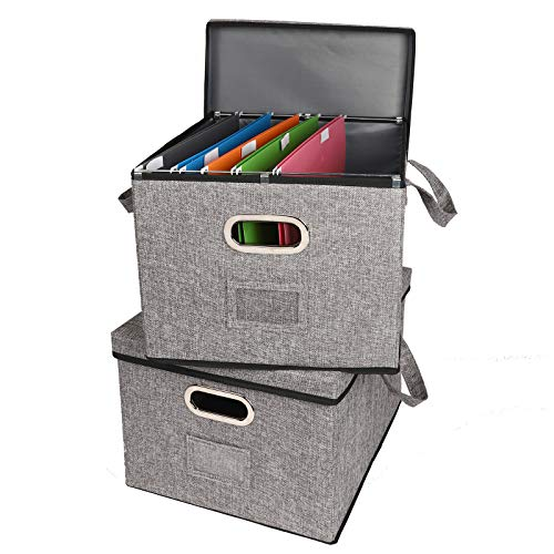 Foldable Linen Storage File boxes File Storage Bins with Lids with 4 Metal Conduits for Legal and Letter-Size Folders 2-Pack Gray(Without Folders)
