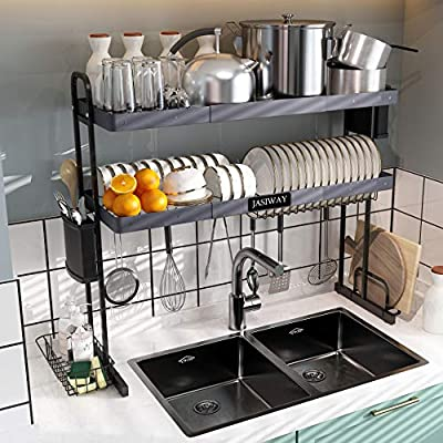 Over the Sink Dish Drying Rack with Roll up Dish Drying Rack, Kitchen 2 Tier Large Dish Rack with Utensil Holder & Drainboard Set Hooks for Kitchen Counter Organizer Storage Supplies Shelf by JASIWAY