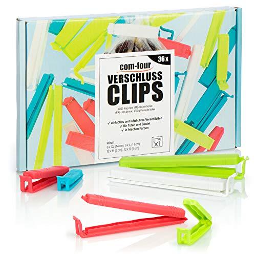 com-four® 36x Verschlussclips aus Kunststoff - Verschlussklammern in verschiedenen Größen und Farben - Gefrierbeutel-Clip für Cornflakes, Nüsse oder Kaffee (36 Stück - 6cm/8cm/11cm/14cm)