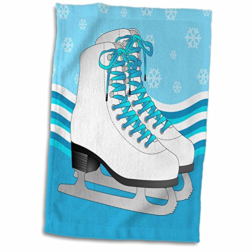 3D Rose - Par de patines de hielo azul sobre fondo de copo de nieve, 15 x 22