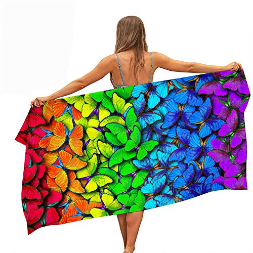 Surwin Toallas de Playa Microfibra, 3D Mariposa Impresión Toalla de Playa Grande Verano Secado Rápido Arena Antiadherente Absorbente Toalla para Viaje Nadar Piscina (Mariposa Colorida,150x180cm)