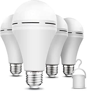 4 Pack Rechargeable Emergency LED Bulb 1200mAh 15W 80W Equivalent 6000K Battery-Operated-Light-Bulb-E27 with Hook for Power Outage Camping Tent Hurricane