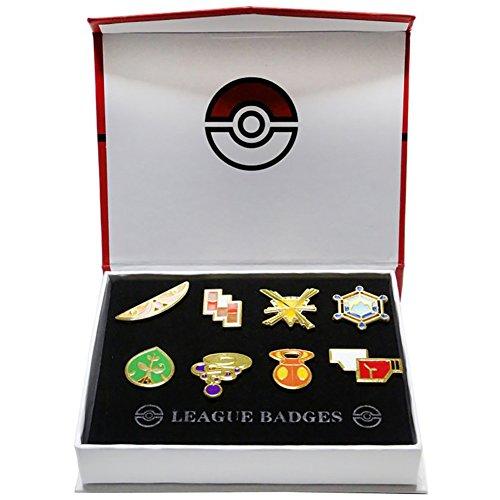 TheWorldBuy Pokemon League #01 - Set 8 BROCHES / League Badges / 8 BROOCHES Set 2-4cm