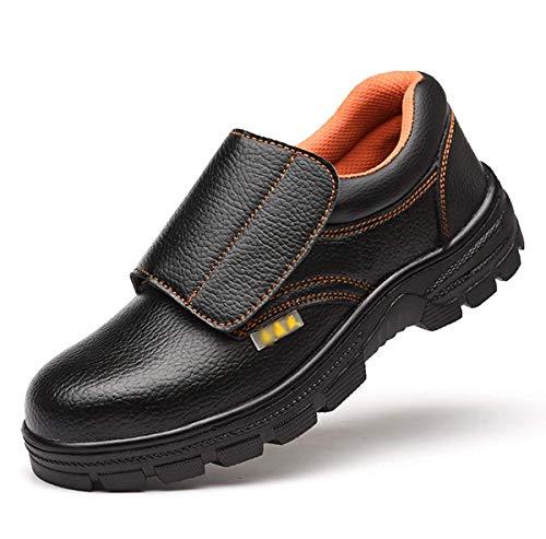 [ANGELCITY] メンズ 安全靴 先芯入り ローカット マジックテープ 革靴 労働保険靴 耐酸 耐アルカリ 衝撃吸収 作業靴 耐磨耗 短靴 通気 防水 快適 カジュアル つま 先保護 A149 (27.5cm, ブラック)