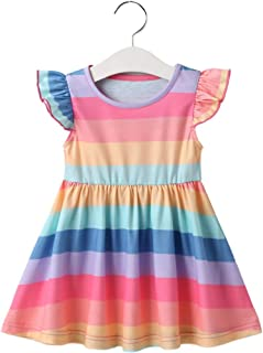 Festnight Girls Rainbow Dress Summer Princess Dress Colorful One-piece Dresses