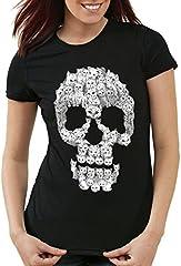 style3 Gato Calavera Camiseta para Mujer T-Shirt Skull Gata chavala