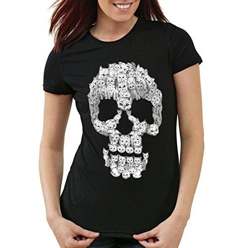 style3 Gato Calavera Camiseta para Mujer T-Shirt Skull Gata chavala, Talla:S