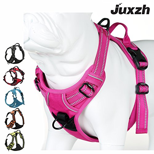 JUXZH Soft  Dog Harness .3M Reflective No Pull Harness with handle and Two Leash...