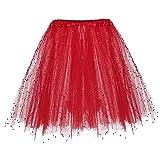 VJGOAL Moda Casual de Verano Elástica 3 Capas de Malla Suave de Lentejuelas Tutu Falda Ballet Tulle (Rojo, Un tamaño)
