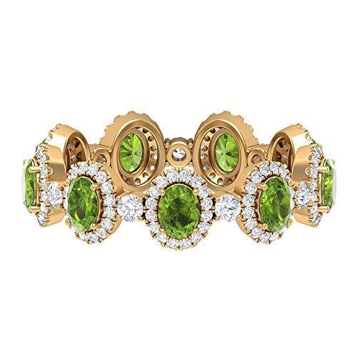 Rosec Jewels 14 quilates oro amarillo ovalada round-brilliant-shape H-I Green Diamond Peridot