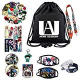 My Hero Academia Gift Set - 100PCS Cartoon Stickers/1 Drawstring Bag Backpack/2 Face Mask/8PCS Bookmark/2 Bracelet/1 Keychain/ 2 Button Pins/1 Phone Ring Holder/1 Necklace Lanyard for Anime MHA Fans