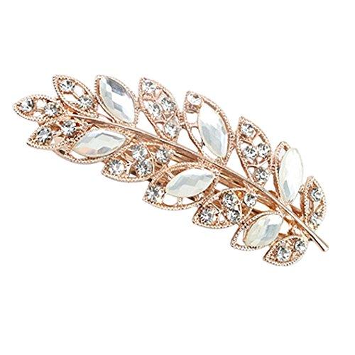 display08 Damen-Haarspange mit Blumen- und Blattkristallen und Strass-Steinen.