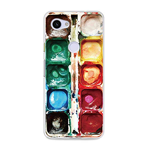 """CasesByLorraine Compatible with Google Pixel 3a Case, [for Men & Women] Watercolor Paint Box Flexible TPU Soft Gel Protective Cover for Google Pixel 3a 5.6"""" (2019)"""