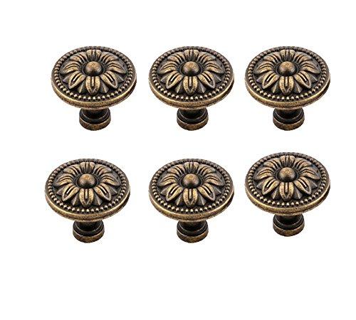 Antrader Pull Handle Metal Flower Shape Cabinet Drawer Door Knob Bronze Tone Pack of 6