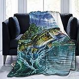 AEMAPE Manta de Lana, Manta de Tiro de Lana Suave y cálida para Pesca de lubina, Manta para Todas Las Estaciones para sofá de Dormitorio