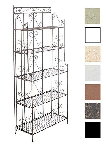 Ciara stabiles Standregal im Landhausstil I Klappbares Eisenregal mit 5 Regalböden I erhältlich, Farbe:Bronze