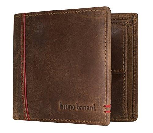 bruno banani Männer Geldbeutel aus Echt Leder im Querformat, Designer Geldbörse für Herren - Cognac & Rot 5331