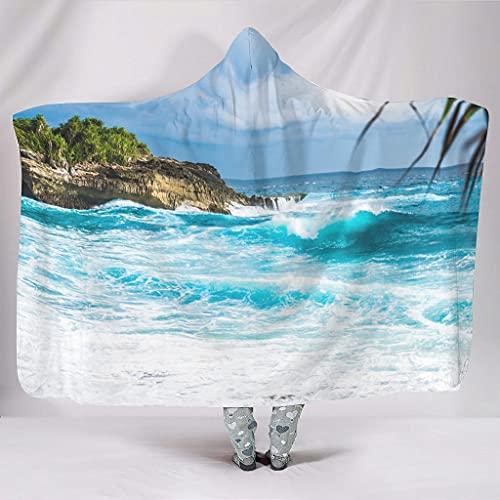 DOGCATPIG Sudadera de microfibra estándar de gran tamaño con diseño de arrecifes costero suave y cómoda manta estándar para mujeres y hombres blanco 127 x 152 cm