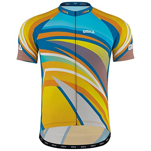 OMKA Herren Radtrikot Fahrrad Radler-Trikot Racing Performance Shirt mit Sublimationsdruck, Größe:L