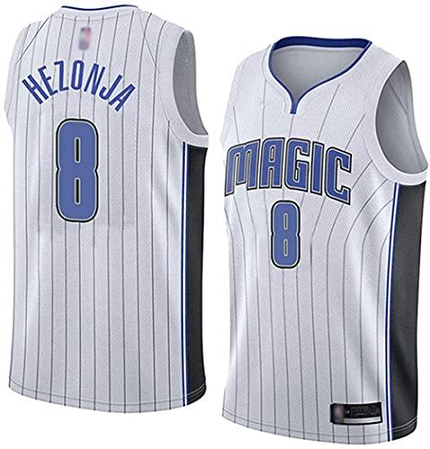 XSJY Baloncesto De Los Hombres NBA Orlando Magic # 8 Mario Hezonja Jersey, Classic Basketball Sport Mesh Secado Rápido Vestido De Cuello para Cuello De V,B,L:175~180cm/75~85kg
