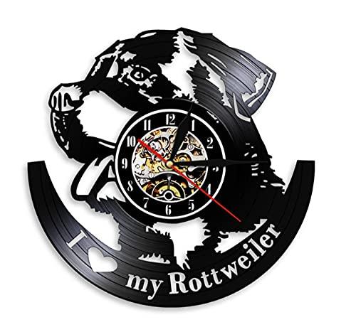 SFTWEAD Amo mi Rottweiler Vintage Negro Colgante Vinilo Reloj de Pared Arte Animal Reloj de Pared...
