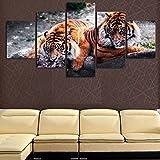 RQWWLH HD Wall Art Canvas Poster Habitación para Niños Caligrafía 5 Set Animal Tiger Style Decoración del Hogar Modular Picture Print Painting 200X100Cm / 78.8X39.4