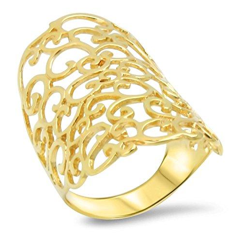 Goldring Massiv Silber - Sterlingsilber - 925 22 Karat vergoldet Damen Breiter Band - Ring Gelbgold Gr 48-63 (60 (19.1))