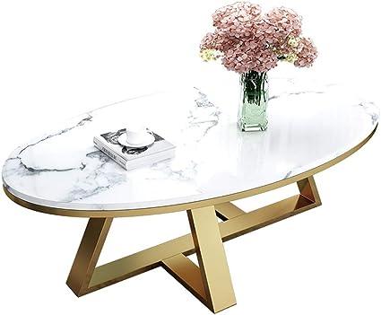 Jjhome Arredamento Mobili Soggiorno Tavolino Ovale In Marmo Bianco E Oro Amazon It Casa E Cucina