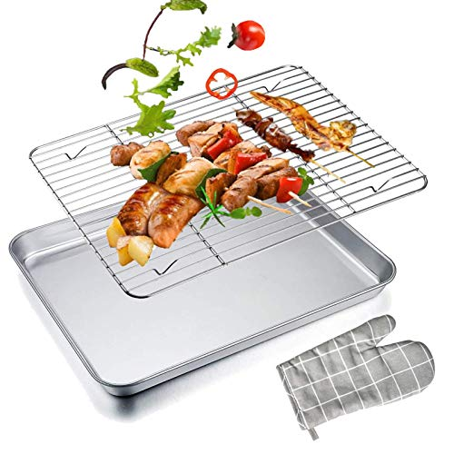 Baking Tray with Rack Set Stainless Steel Cookie Sheet Pans with Cooling Rack, Toaster Oven Tray Rack Thickening Dishwasher Safe, Rustproof Roasting & Baking Sheet 16'' x 12''x 1''