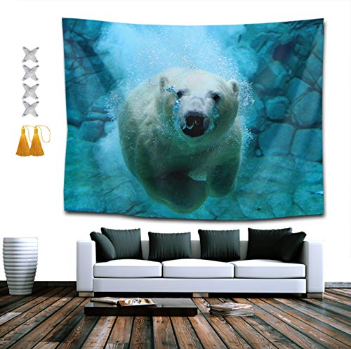 YongColer Polar Bear Tapestries, Boho Bedding Tapestry Wall Hanging Tapestries - Throw Home Indian Decoration Retro Art Living Room Bedroom Dorm Room 60 x 80 inches
