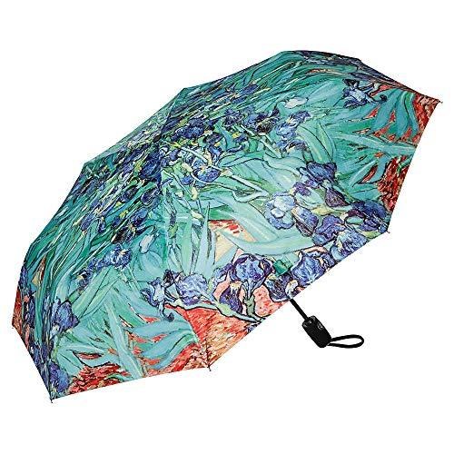 VON LILIENFELD Paraguas Bolsillo Plegable Vincent Van Gogh: Lirio Flor Ligero Estable Abrir y Cerrar Automático Compacto Arte