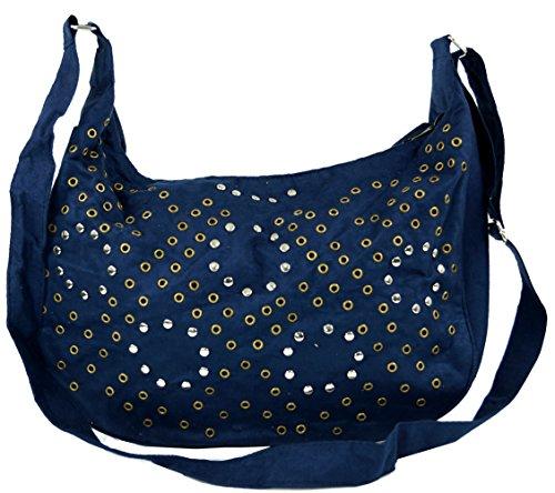 GURU SHOP Schultertasche mit Nieten Bali - Blau, Herren/Damen, Synthetisch, Size:One Size, 27x36 cm, Alternative Umhängetasche, Handtasche aus Stoff