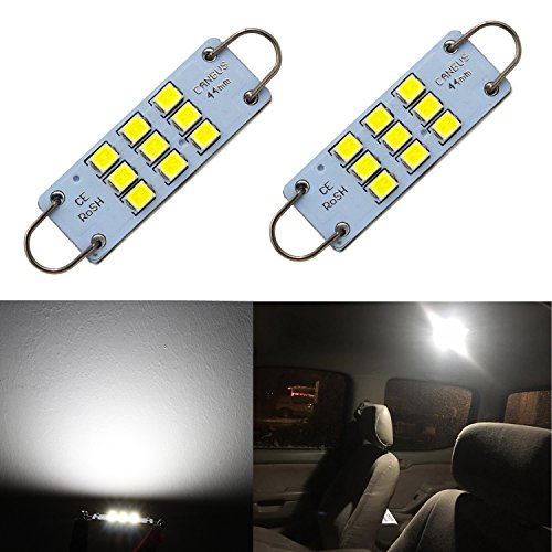 Alla Lighting Festoon 44mm 1.73' 3030 9-SMD Rigid Loop Extremely Super Bright White 561 562 567 564 LED Bulbs for Interior Map Dome Luggage Compartment Light Lamps Replacement