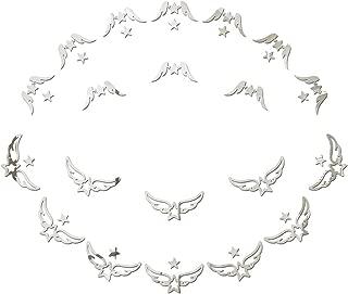 20 pcs Angel 3D Mirror Acrylic Wall Stickers Stars Stickers DIY Detachable Wedding Bathroom Kitchen Bedroom Living Room Children's Room self-Adhesive Decorative Wallpaper (Silver)