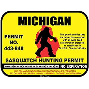 JS Artworks Michigan Sasquatch Hunting Permit License Bigfoot Vinyl Sticker Decal